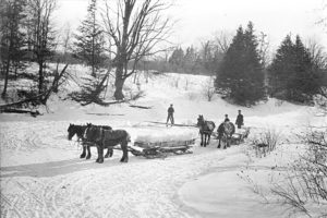 Eisblockhauer, Ontario, Kanada, 1890 (Quelle: https://commons.wikimedia.org/wiki/File:Cutting_Ice_on_the_river.jpg)